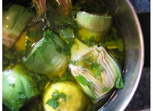 You can prepare the artichokes early in the day and then throw them on the grill that night.