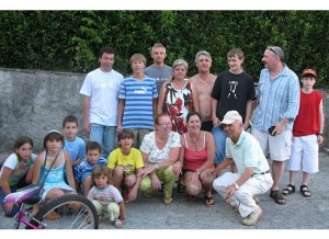 My family in Filecchio all live within a few blocks of each other. That's me standing and turning left, with my boys on each side. (Photo by Patricia Micheli)